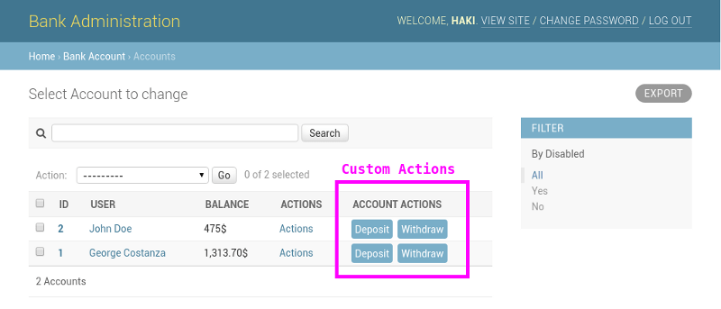 Django Admin interface with custom action buttons